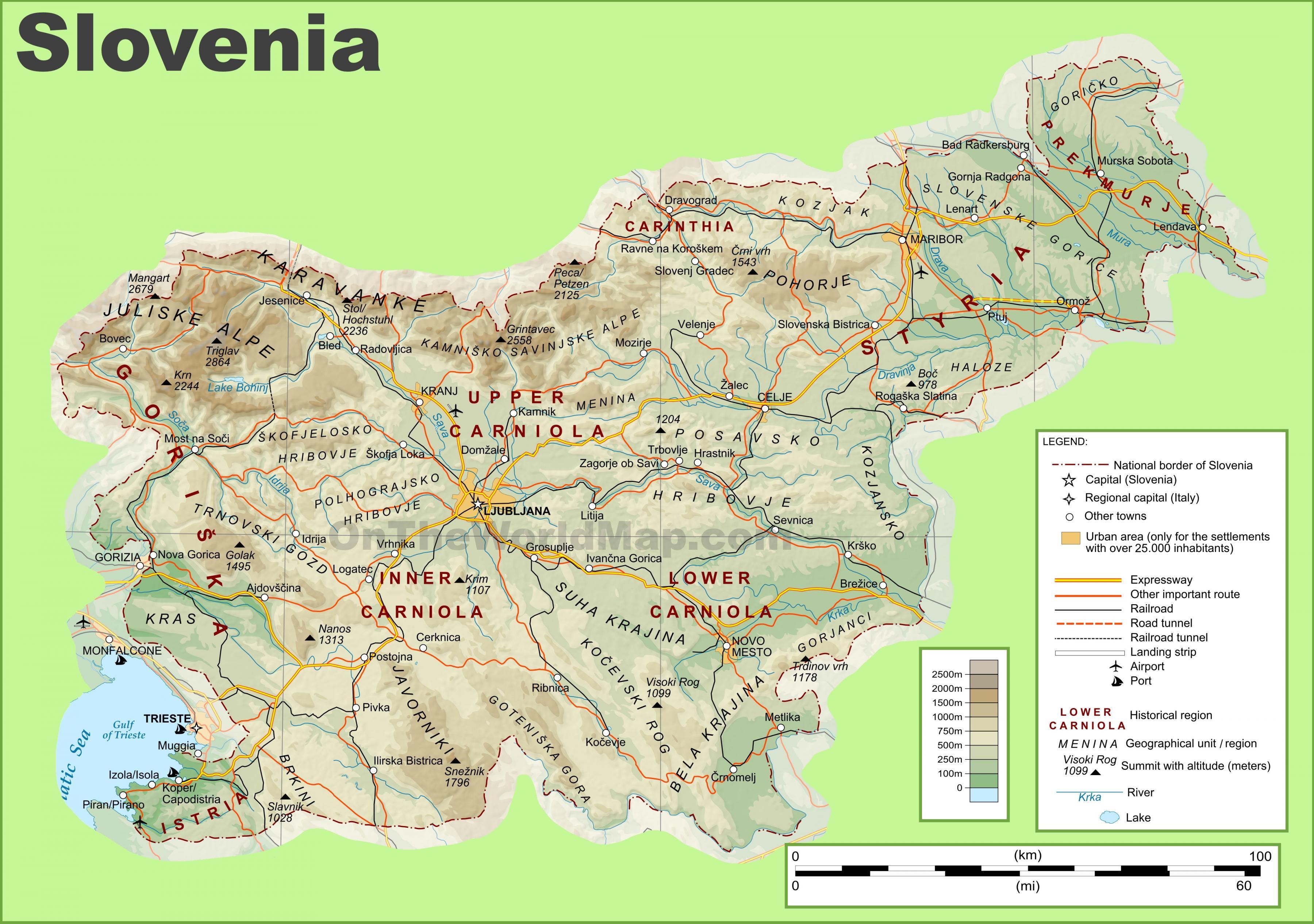 Cartina Stradale Della Slovenia.Slovenia Mappa Fisica Mappa Della Slovenia Fisica Europa Del Sud Europa