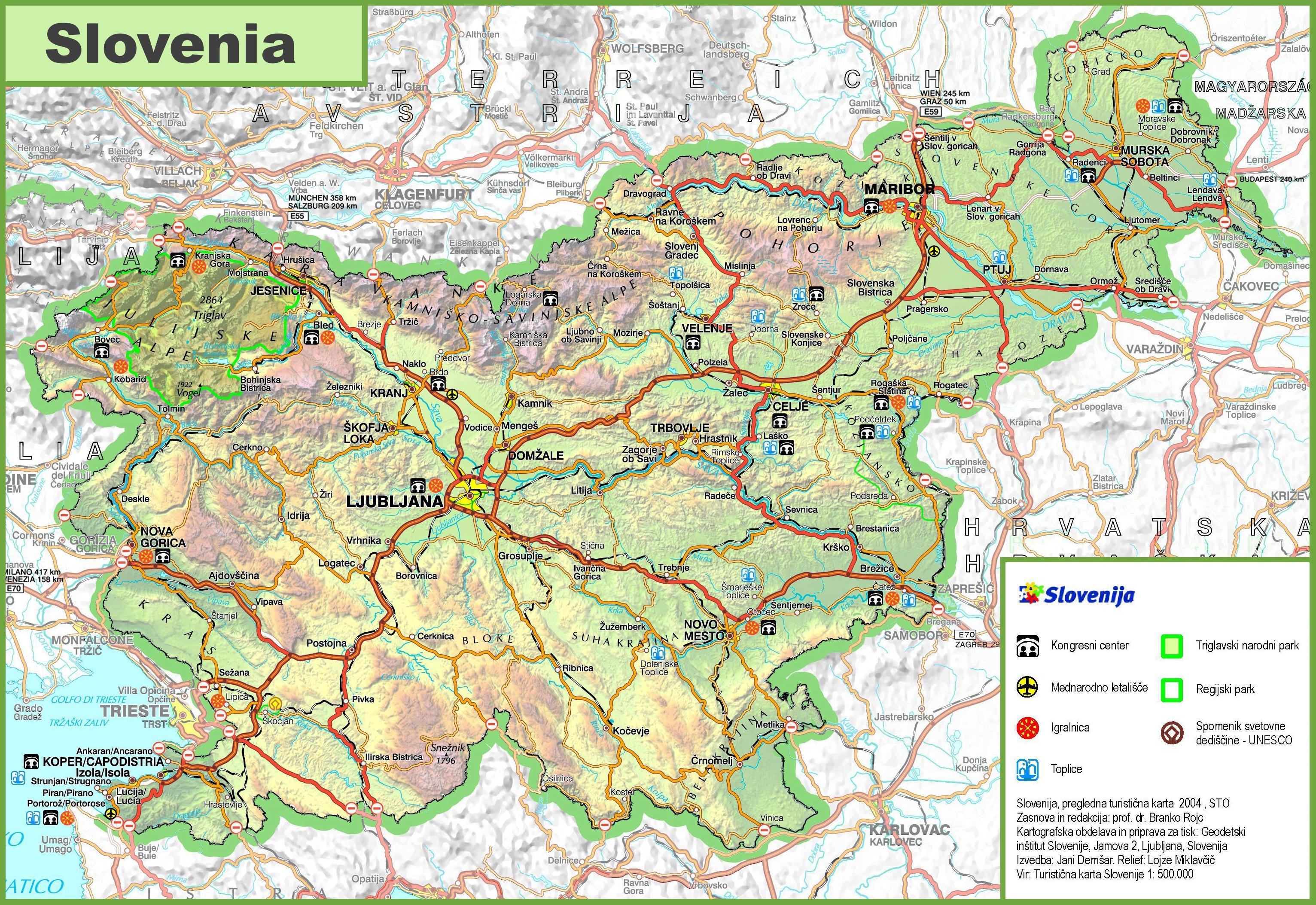 Cartina Stradale Della Slovenia.Slovenia Mappa Stradale Mappa Della Slovenia Strada Europa Del Sud Europa